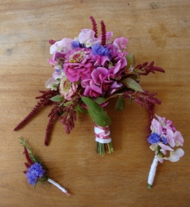 A bouquet, corsage and boutonniere that you can make yourself from flowers found at a farmers' market   flourishandknot.com