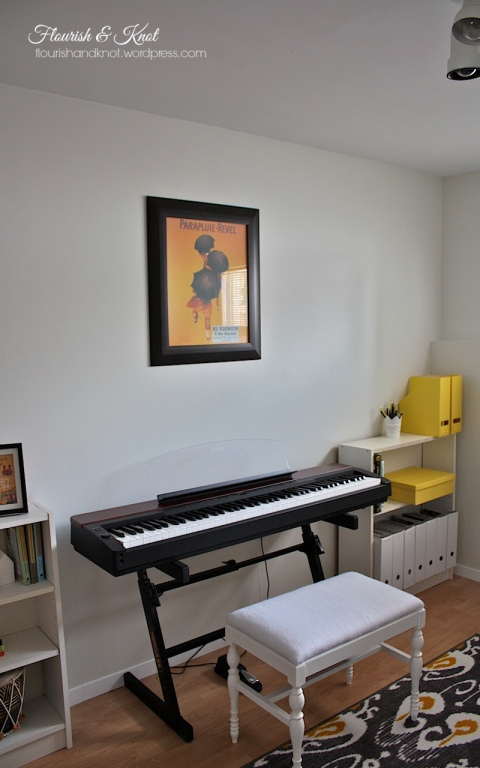My sunny yellow, black, and white music room | flourishandknot.com