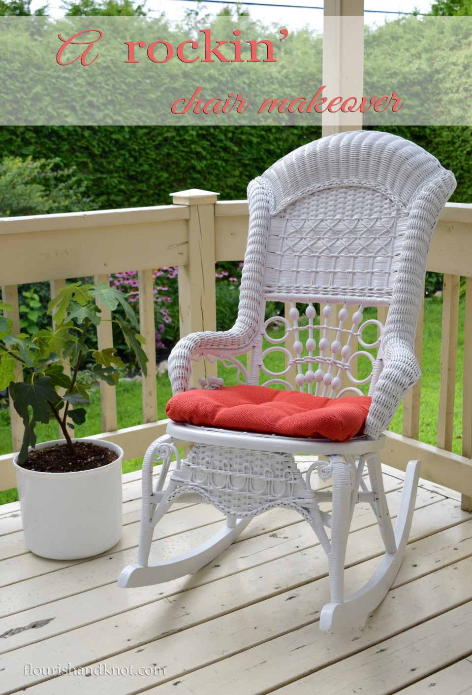 DIY Projects ~ A Rocking Chair Makeover ~ See how Sarah from Flourish and Knot refinished her grandmothers wicker rocking chair.