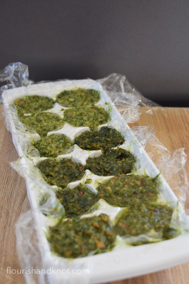 Freeze pesto in an ice cube tray to create ready-made portions