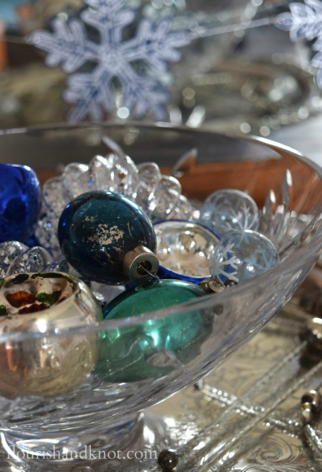 Flourish & Knot's 2015 Christmas Home Tour | flourishandknot.com | Vintage blue, silver, and green glass ornaments
