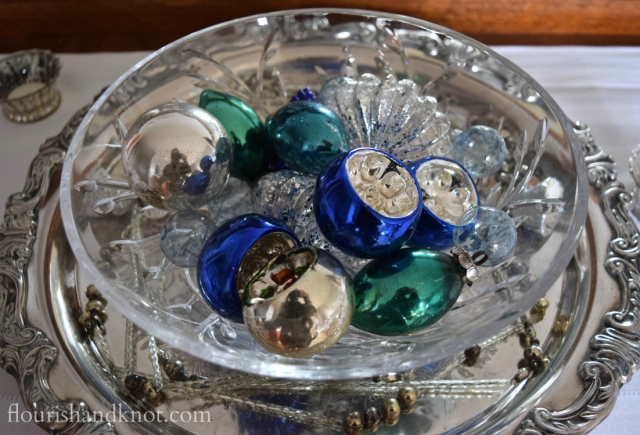 Flourish & Knot's 2015 Christmas Home Tour | flourishandknot.com | Vintage blue, silver, and green glass ornaments in a crystal bowl