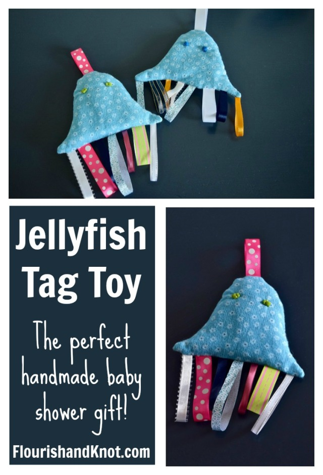 How to make a jellyfish tag toy | Handmade baby shower gift | flourishandknot.com