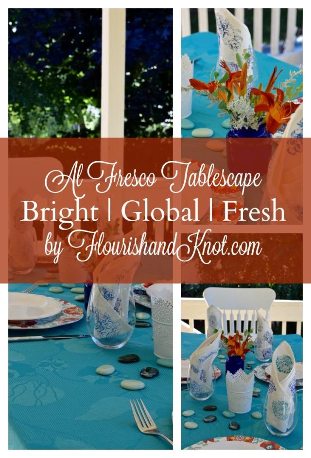 Turquoise & Orange Outdoor Table   Al Fresco Tablescape Hop   Bright, Global, Fresh Tablescape   Flourishandknot.com