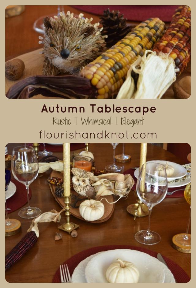 A rustic, whimsical & elegant autumn tablescape | Autumn Tablescape Hop | flourishandknot.com