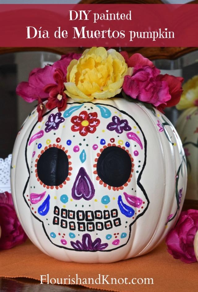 A colourful DIY painted pumpkin for Día de Muertos and Halloween | flourishandknot.com